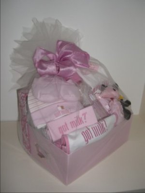 Baby Gift Basket 10 pc 'Got Milk' - Girls