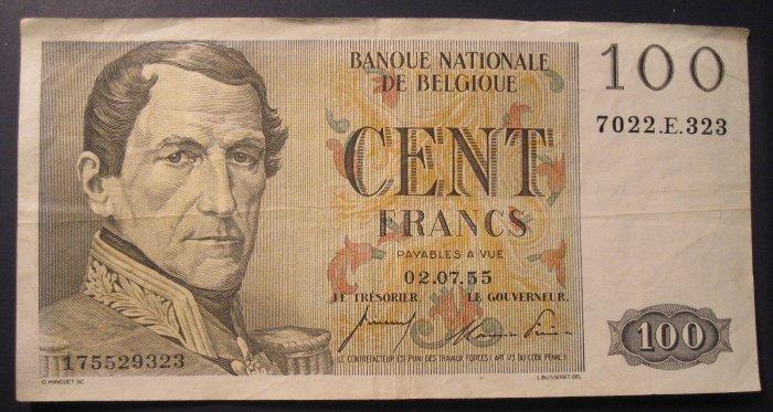 Belguim - 1955 100 Cent Francs