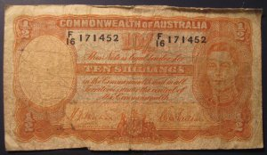 RARE.  1939-41 Sheehan/McFarlane Ten Shillings Note