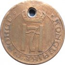 1910 Norway 1 Ore HOLED : (