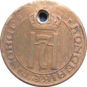1910 Norway 1 Ore HOLED : (