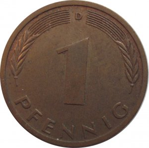 1972 D Germany 1 Pfennig