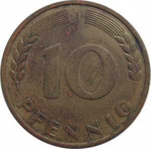 1949 J Germany 10 Pfennig #2