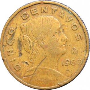 1960 Mexico 5 Centavos
