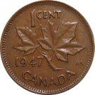 1947 Die Clash on Reverse Error Canadian Cent