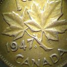 1947 Die Clash on Reverse (LEAF) Error Canadian Cent #3