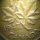1947 Die Clash on Reverse (LEAF) Error Canadian Cent #3