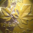 1960 Canadian Cent ERROR Something haywire with plating.