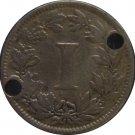 1883 Mexico 1 Centavo DOUBLE HOLED