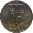 1950 Netherlands 25 Cents