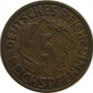 1924 J Germany 5 REICHSPFENNIG