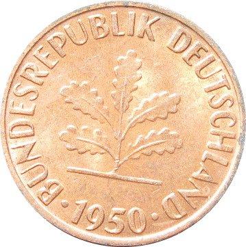 1950 G Germany 1 Pfennig #2