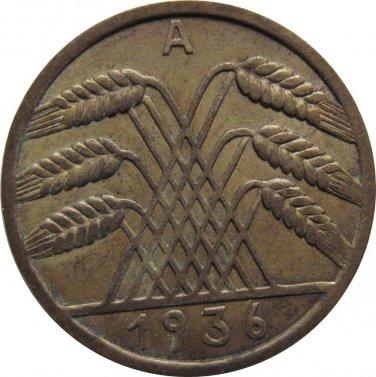 1936 A Germany 10 RENTENPFENNIG