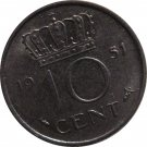 1951 Netherlands 10 Cents