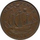 1954 Great Britain Half Penny