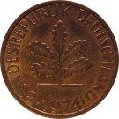 1974 F Germany 1 Pfennig