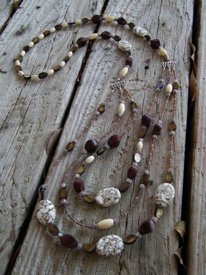Triple Strand Howlite necklace- SOLD