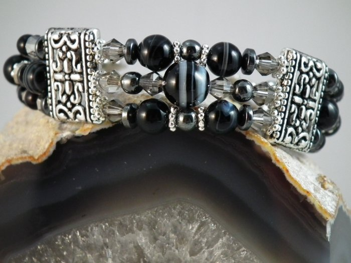 ***SOLD*** Banded Onyx and Hematite Bracelet