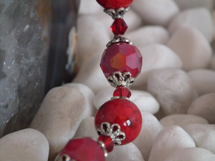 Red Crystal and stone bracelet-SOLD