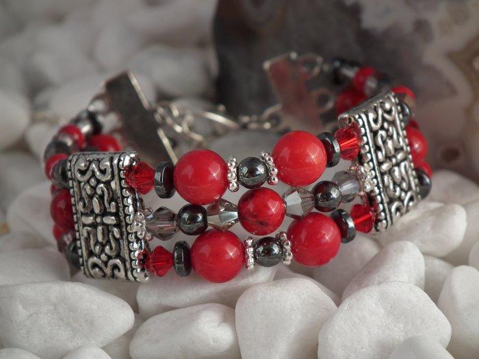 ***SOLD*** Red Coral & Hematite Triple Strand Bracelet