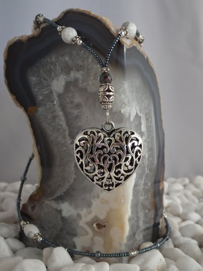 Howlite and Hematite w/ Heart Pendant-SOLD