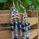 Hematite, Crystals & Blue Stone Earrings