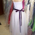 Dessy 4006.....Flower Girl / Special occasion Dress.....Ivory / Aubergine...Sz 2