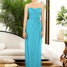 Dessy 2882......Strapless, Full length, Chiffon Blue Dress....Turquoise....Sz 12