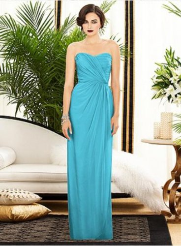 Dessy 2882......Strapless, Full length, Chiffon Blue Dress....Turquoise....Sz 16