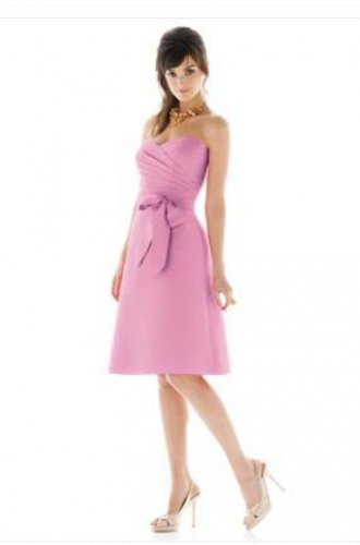 Alfred Sung D 445....Tea length, Strapless, Dupioni Pink Dress....Begonia...Sz 4
