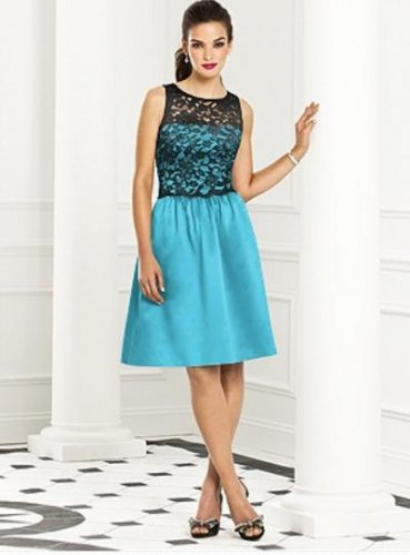After Six 6656..Cocktail, Sleeveless, Satin, Lace Blue Dress...Turquoise...Sz .6