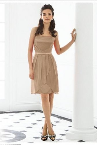 After Six 6650..Cocktail, Strapless, Satin Chiffon Brown Dress.Cappuccino..Sz 6