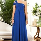 Dessy 2881....Full Length, One shoulder Chiffon, Blue Dress....Sapphire....Sz 4
