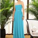Dessy 2886......Strapless, Full length, Chiffon Blue Dress.....Turquoise....Sz 2
