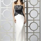 Dessy 2849......Full length, Strapless, Lace and Satin Dress....Ivory.....Sz 4
