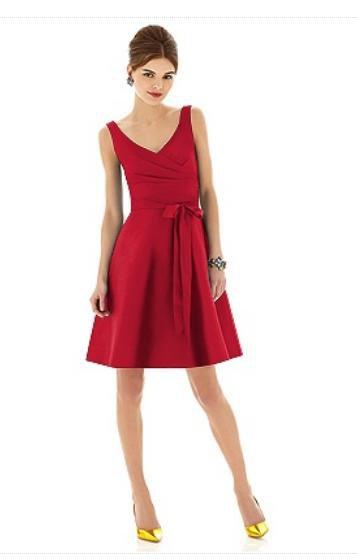 Alfred Sung D 624......Tea length, Silk Blend, V-neck Dress....Poppy.....Sz 4