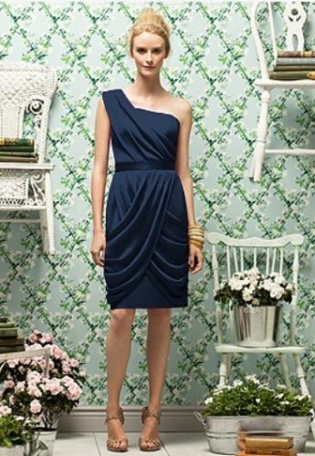 Lela Rose LR 179....Tea length, One shoulder, Chiffon Dress.....Midnight...Sz 8