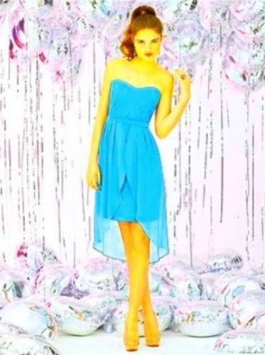 Dessy Social Bridesmaids 8120...Cocktail Length, Strapless....Turquoise....Sz 6