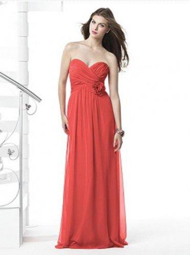 Dessy 2832....Full length, Strapless Chiffon Dress....Firecracker....Sz 18