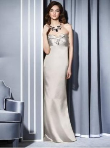 Details about  Dessy 2793....Full length, Strapless, Satin Dress....Oyster...Sz 14