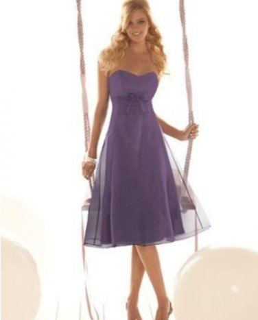 Details about  After Six 6280.....Tea-length, Strapless, Organdy Dress...Victorian Lilac...Sz 8