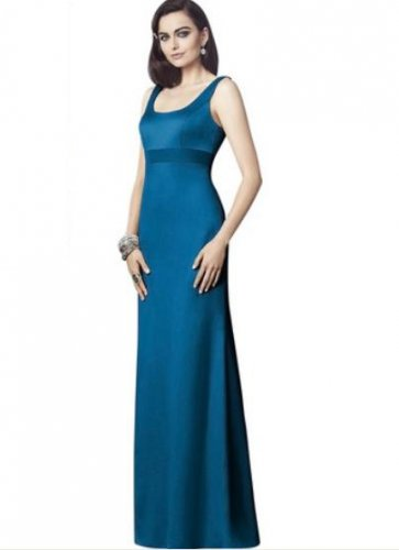 Dessy 2901......Full length, Sleeveless, Satin Dress....Ocean Blue....Size 6