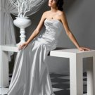Dessy 2749....Full length, Strapless, Satin Dress.....Frost....Size 4