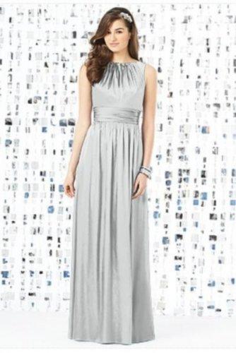 Dessy 8145.....Full length, Sleeveless, Satin Dress......Sterling......Size 8