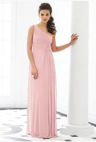 After Six 6651.....Formal, One shoulder, Chiffon Dress...Rose....Size 6 UK