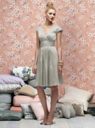 Lela Rose 166....Knee-length...Satin Cocktail Dress...Gray...Alabaster.....Sz 12
