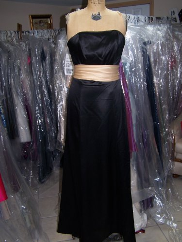Dessy 2512...Full length, Strapless, Satin Dress...Black...Size 6