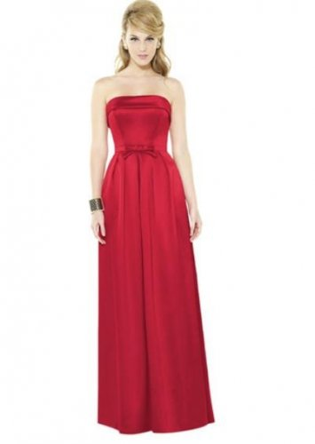After Six 6720...Full length, Strapless, Satin Dress......Flame....Size 14
