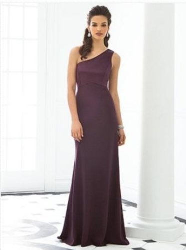 After Six 6643...Full length, One shoulder Dress......Eggplant......Size 8