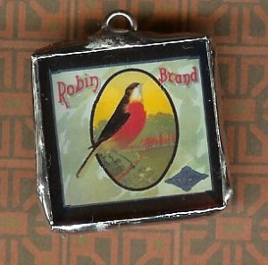 Glass Charm Antique Bird Packing Label